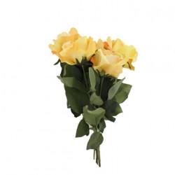 Bouquet artificielle rose jaune 5 tiges 62cm
