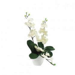Composition mini Orchidée blanche 2 tiges retombées 35cm