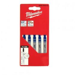 Pack de 5 lames scie sauteuse MILWAUKEE métal 55 mm denture de 1,2 mm 4932254063