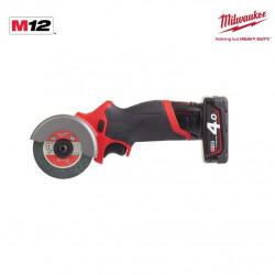Meuleuse d'angle MILWAUKEE M12 FCOT-422X - 1 batterie 2.0 Ah - 1 batterie 4.0 Ah - 1 chargeur 4933464619