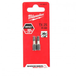 2 Embouts Torx Milwaukee TX25 25mm SHOCKWAVE 4932430879