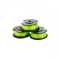 Lot de 3 bobines simple fil torsadé RYOBI 2mm pour coupe-bordures sur batterie RAC143