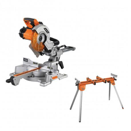 Pack Scie à onglet électrique AEG 2000W 254mm PS254 L - Support universel AEG pour scie radiale PSU1000