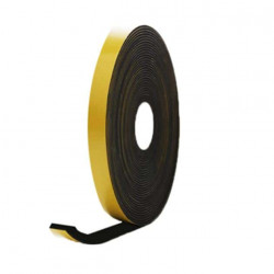 Mousse noire adhésive caoutchouc epdm 15x8mm longueur 10m