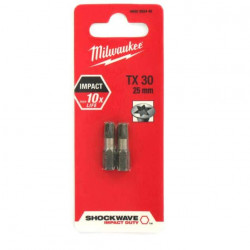 2 Embouts Torx Milwaukee TX30 25mm SHOCKWAVE 4932430885
