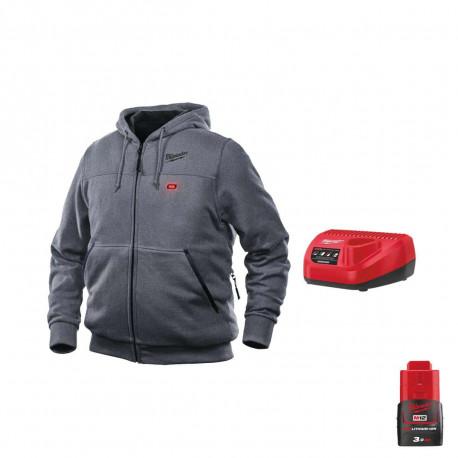 Sweat chauffant Milwaukee Gris M12 HHGREY3-0 Taille M 4933464353 - Chargeur de batterie 12V M12 C12 C - Batterie M12 12V 3.0Ah