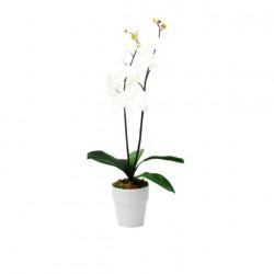 Composition artificielle Orchidée blanc pur 2 tiges 70cm