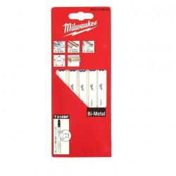 Pack de 5 lames scie sauteuse MILWAUKEE métal 105 mm denture de 2 mm Bi-metal 4932274653
