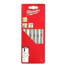 Pack de 5 lames scie sauteuse MILWAUKEE bois 105 mm denture de 4 mm 4932311633