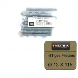 Pack de 6 Tiges Filetées M12 BATIFIX diamètre 12 x 115mm