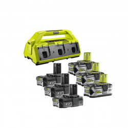 Pack NRJ RYOBI 18V - 1 chargeur 6 ports Lithium-ion RC18-627 - 3 batteries 2,0Ah RB18L20 - 3 batteries 5,0 Ah RB18L50