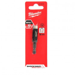 "Porte-embout magnétique MILWAUKEE 60mm HEX 1/4"" SHOCKWAVE 4932352406"