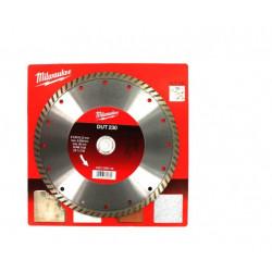 Disque diamant universel MILWAUKEE DUT diamètre 230mm coupe turbo 4932399529