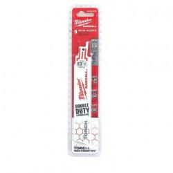 Pack de 5 lames de scie sabre Torch bi-metal/co 150 mm MILWAUKEE SAWZALL 14 TPI 48005782