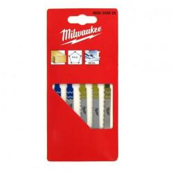 Pack de 5 lames scie sauteuse MILWAUKEE métal/bois/PVC 4932345825