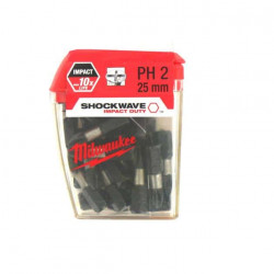 Boite de 25 Embouts Philips MILWAUKEE PH2 25mm SHOCKWAVE 4932430853