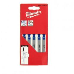 Pack de 5 lames scie sauteuse MILWAUKEE métal 55 mm denture de 0,7 mm 4932274652