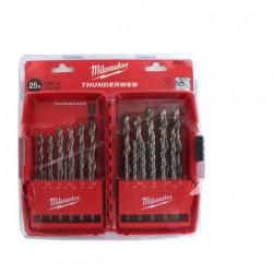 Coffret de 25 forets métaux MILWAUKEE HSS-G THUNDERWEB 4932352376