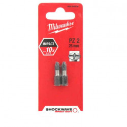2 Embouts Pozidriv MILWAUKEE PZ2 25mm SHOCKWAVE 4932352436
