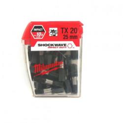 Boite de 25 Embouts Torx MILWAUKEE TX20 25mm SHOCKWAVE 4932352555