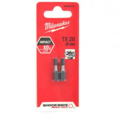 2 Embouts Torx MILWAUKEE TX20 25mm SHOCKWAVE 4932430874