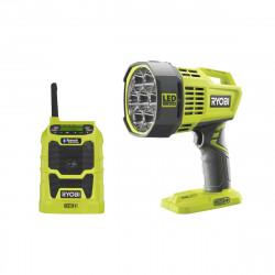 Pack RYOBI Spot led longue portée 18V OnePlus R18SPL-0 - Radio bluetooth AM/FM 18V OnePlus R18R-0