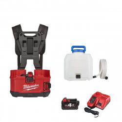 Pack MILWAUKEE pulvérisateur à dos M18 BPFPH-401 - 1 batterie 18V 4.0 Ah - 1 Chargeur - harnais - Réservoir 15 L eau