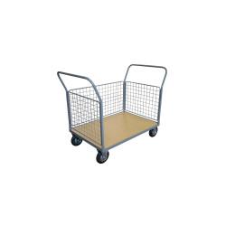 Chariot 500 kg plateau bois 3 ridelles 1200x800 mm