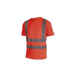 T-shirt haute visibilité - Manches courtes - Rouge fluo - 4XL