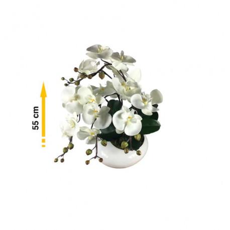 Composition artificielle Orchidée zen blanc 5 tiges - 55cm