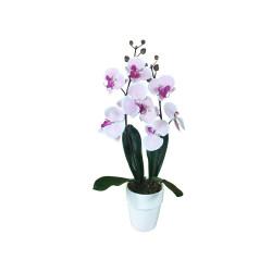 Composition artificielle Orchidée rose mouchetée 2 tiges - 60cm