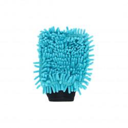 Gant de lavage microfibre double face bleu