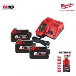 Pack NRJ Milwaukee 18V 5.0Ah 3 batteries 18V 5.0Ah 1 chargeur M12-18FC - 1 batterie M12 2.0Ah OFFERTE 4933451423
