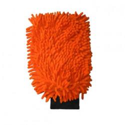 Gant de lavage microfibre double face orange