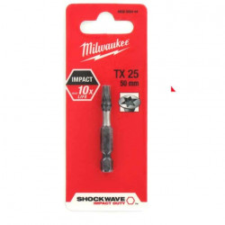 Embout Torx MILWAUKEE TX25 50mm SHOCKWAVE 4932352444
