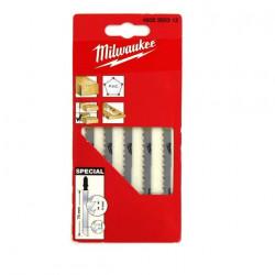 Pack de 5 lames scie sauteuse MILWAUKEE bois/PVC double denture 75 mm 4932265312