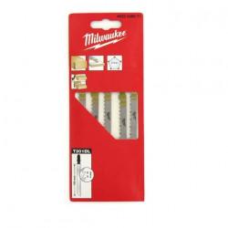 Pack de 5 lames scie sauteuse MILWAUKEE bois/PVC 105 mm denture de 4 mm 4932346071