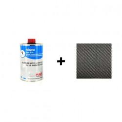 Pack résine Polyester Type ECO Soloplast - 1m2 Fibre de carbone Serge 195g/m2