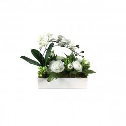 Composition rectangulaire mini Orchidée blanche 2 tiges 21 cm