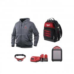 Pack MILWAUKEE Sweat chauffant Gris M12 HHGREY3-0 Taille M - Enceinte Bluetooth M12 JSSP-0 - Lampe frontale L4HL-201 - Sac à dos - 3 batteries 1 chargeur