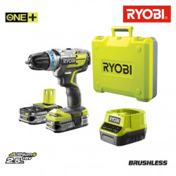 Perceuse-visseuse Brushless RYOBI OnePlus Lithium-ion - 2 batteries 2.5 Ah - Chargeur rapide- Coffret - R18DDBL-225B