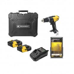 Pack Perceuse PEUGEOT ENERGYDRILL-14V15 - 2 batteries 14.4V 1.5 Ah - 1 chargeur - coffret 37 pièces 250310-190596