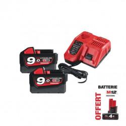 Pack NRJ Milwaukee 18V 9.0Ah 2 batteries 18V 9.0Ah 1 chargeur M12-18FC - 1 batterie M12 4.0Ah OFFERTE 4933451422