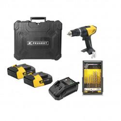 Pack Perceuse PEUGEOT ENERGYDRILL-18V20 - 2 batteries 18V 2.0 Ah - 1 chargeur - coffret 37 pièces 250312-190596