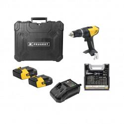 Pack Perceuse PEUGEOT ENERGYDRILL-14V15 - 2 batteries 14.4V 1.5 Ah - 1 chargeur - Mallette mixte 108pcs 250310-190646