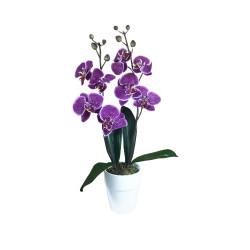Composition artificielle Orchidée mauve mouchetée 2 tiges - 60cm