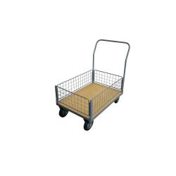 Chariot 250 kg plateau bois 1 dossier - 4 demi-ridelles 1200x800 mm