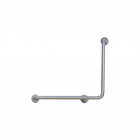 Barre d'appui douche verticale coudée - angle à droite - inox 34 brossé mat