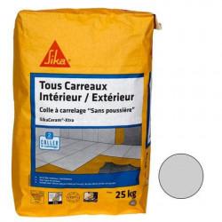 Colle à carrelage tous carreaux intérieur et extérieur (C2-ET) - SIKA SikaCeram Xtra - Gris - 25kg