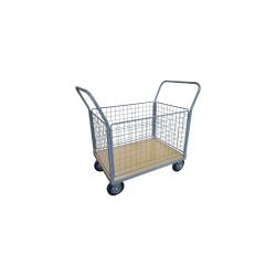 Chariot 250 kg plateau bois 1 dossier - 4 ridelles 1200x800 mm